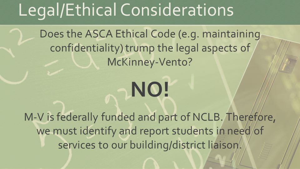 Legal/Ethical Considerations Does the ASCA Ethical Code (e.g.