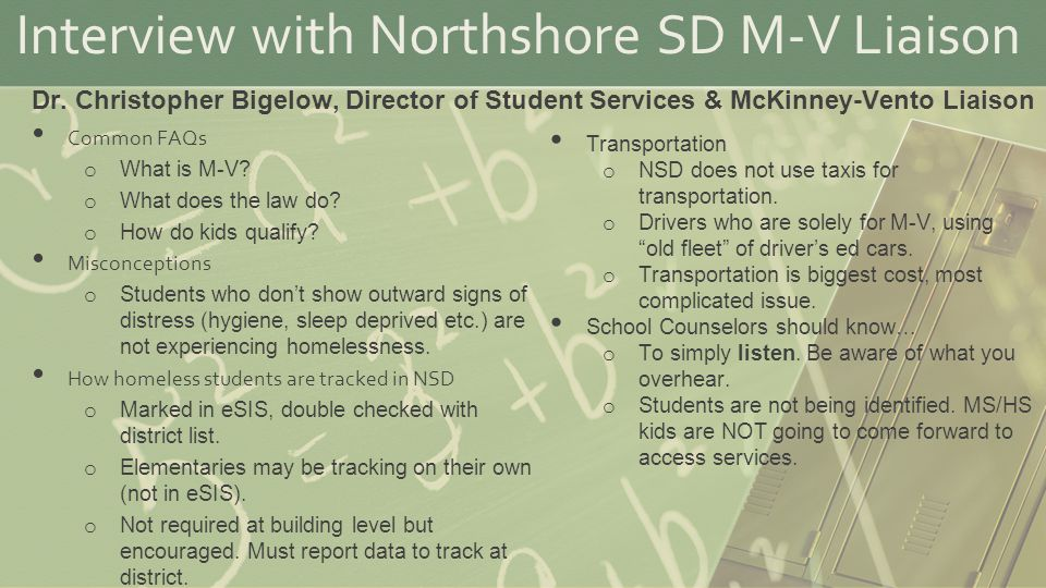 Interview with Northshore SD M-V Liaison Common FAQs o What is M-V.