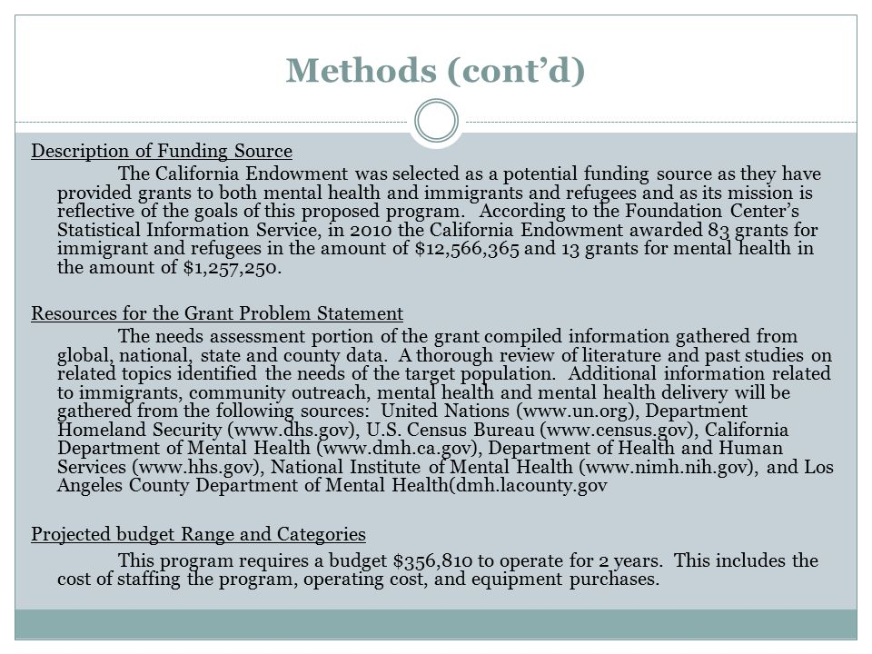 Methods (cont'd) Description of Funding Source The California Endowment was selected as a potential funding source as they have provided grants to both mental health and immigrants and refugees and as its mission is reflective of the goals of this proposed program.