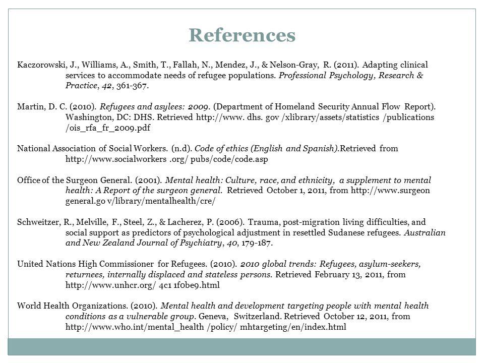 References Kaczorowski, J., Williams, A., Smith, T., Fallah, N., Mendez, J., & Nelson-Gray, R.
