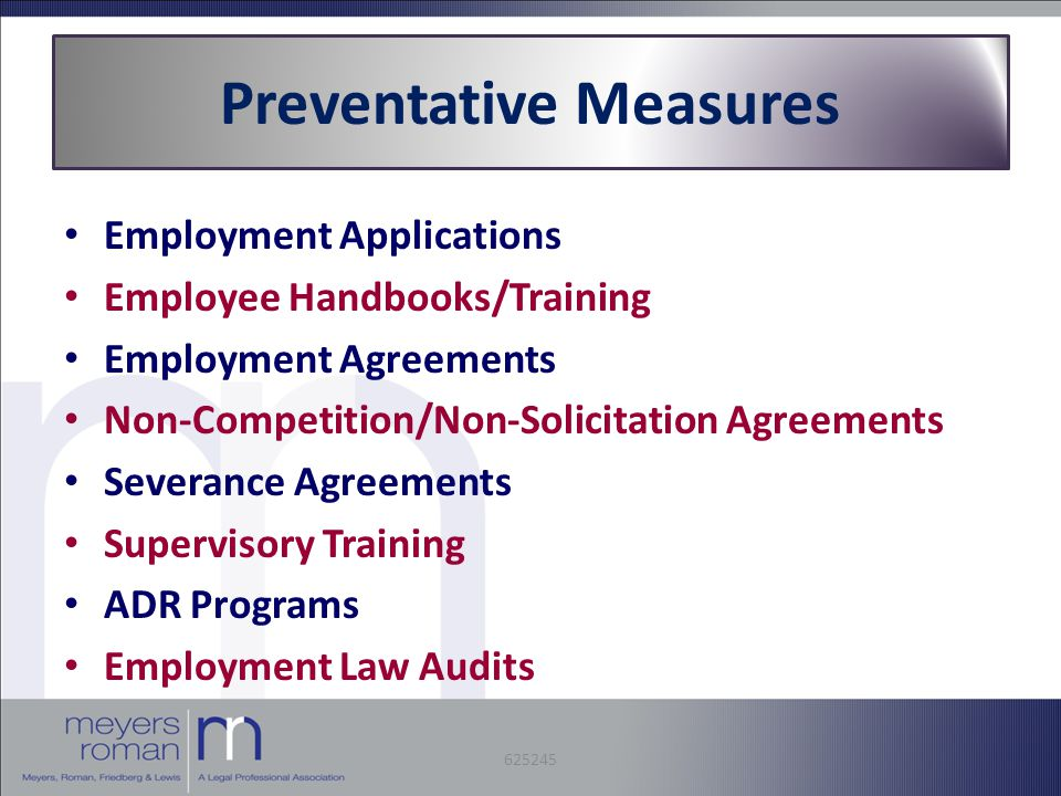 Preventative Measures Employment Applications Employee Handbooks/Training Employment Agreements Non-Competition/Non-Solicitation Agreements Severance Agreements Supervisory Training ADR Programs Employment Law Audits 625245