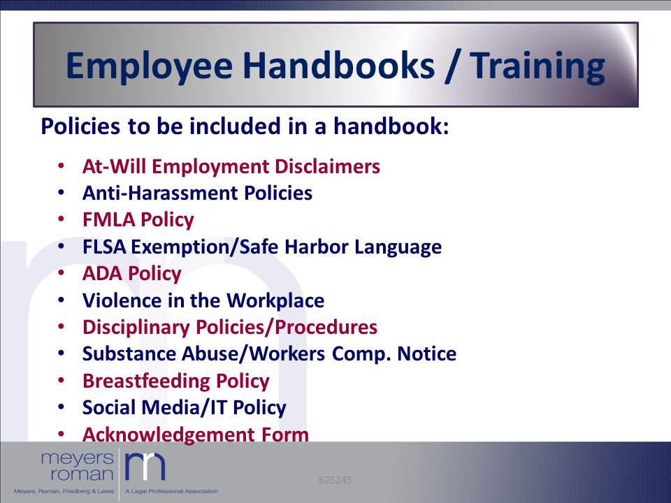 Employee Handbooks / Training Policies to be included in a handbook: At-Will Employment Disclaimers Anti-Harassment Policies FMLA Policy FLSA Exemption/Safe Harbor Language ADA Policy Violence in the Workplace Disciplinary Policies/Procedures Substance Abuse/Workers Comp.
