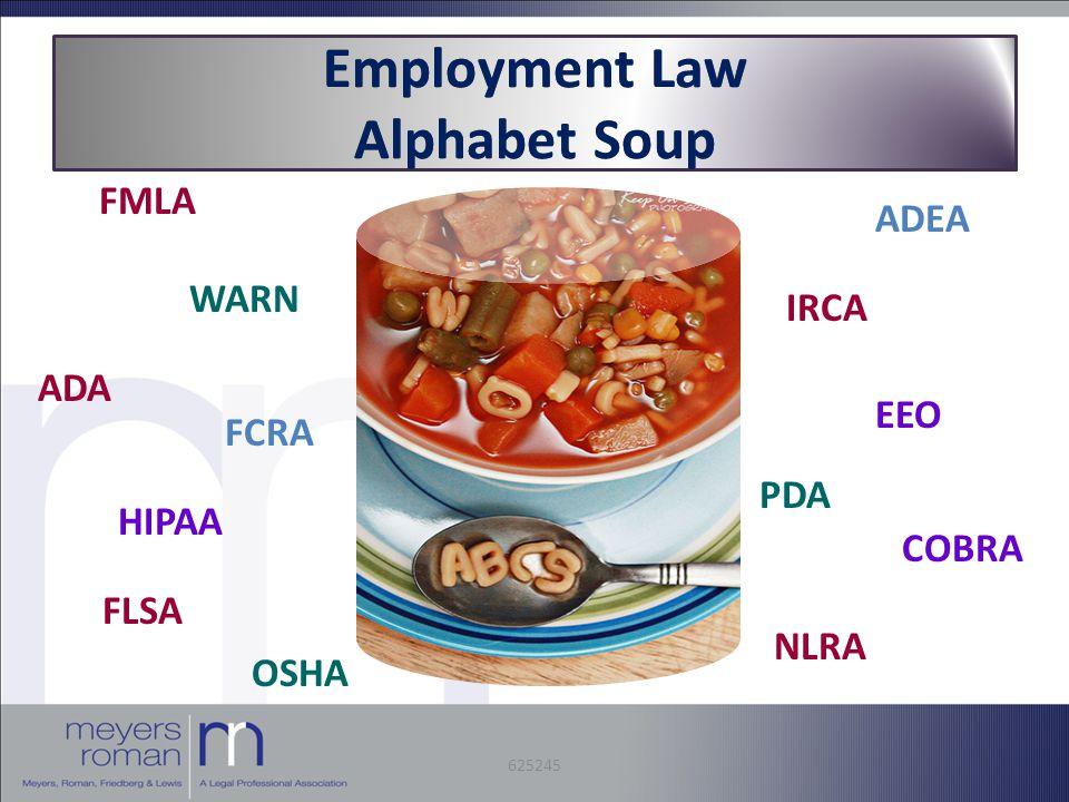 Employment Law Alphabet Soup FMLA WARN ADA FCRA HIPAA FLSA OSHA NLRA ADEA IRCA EEO PDA COBRA 625245