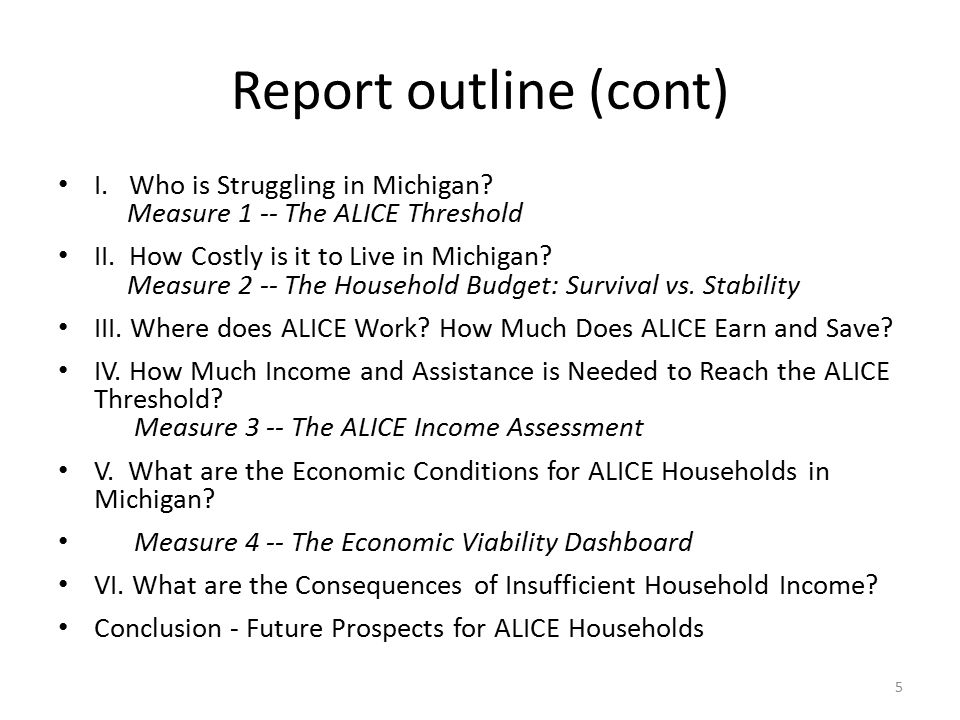 Report outline (cont) I. Who is Struggling in Michigan.