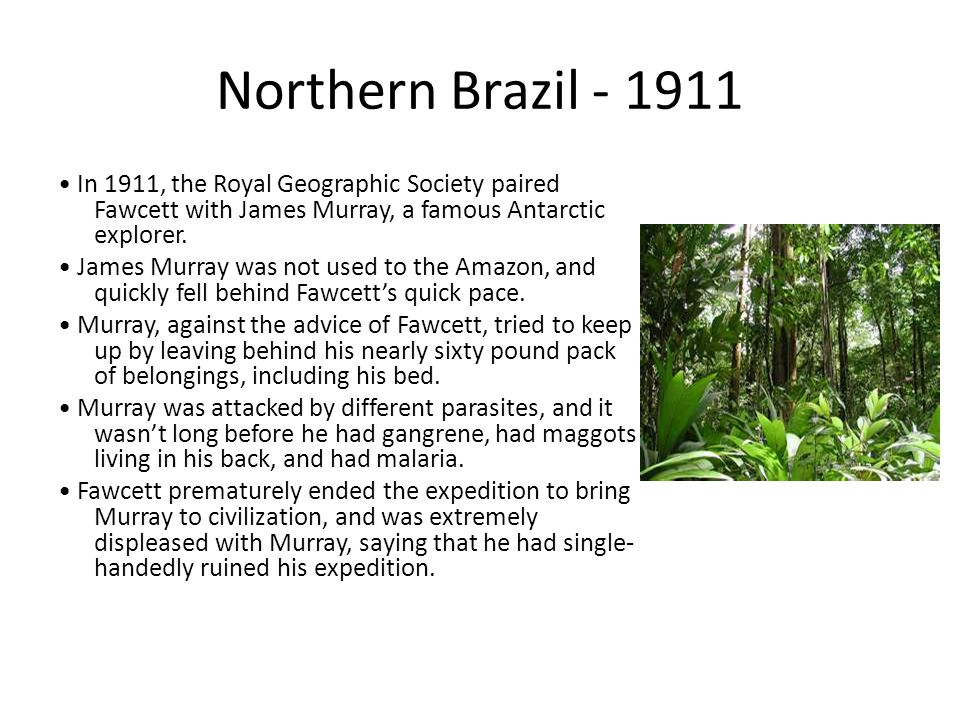 Northern Brazil - 1911 In 1911, the Royal Geographic Society paired Fawcett with James Murray, a famous Antarctic explorer.