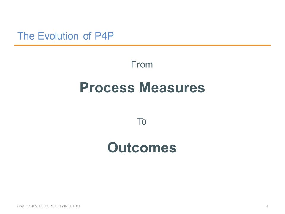 The Evolution of P4P Process Measures © 2014 ANESTHESIA QUALITY INSTITUTE4 From To Outcomes