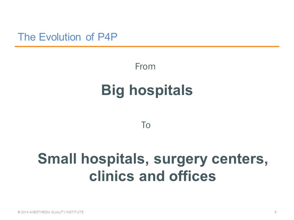The Evolution of P4P Big hospitals © 2014 ANESTHESIA QUALITY INSTITUTE5 From To Small hospitals, surgery centers, clinics and offices