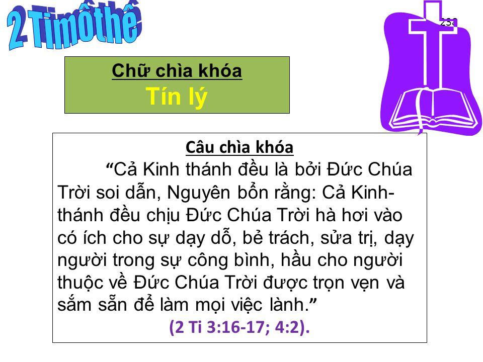 Key Word / Verse 238 Chữ chìa khóa Tín lý Câu chìa khóa Cả Kinh thánh đ ều là bởi Đức Chúa Trời soi dẫn, Nguyên bổn rằng: Cả Kinh- thánh đ ều chịu Đức Chúa Trời hà h ơ i vào có ích cho sự dạy dỗ, bẻ trách, sửa trị, dạy ng ư ời trong sự công bình, hầu cho ng ư ời thuộc về Đức Chúa Trời đư ợc trọn vẹn và sắm sẵn đ ể làm mọi việc lành. (2 Ti 3:16-17; 4:2).