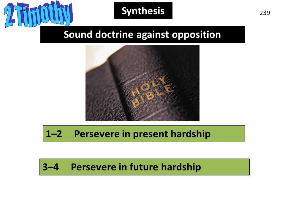 Synthesis 239 Synthesis 3–4Persevere in future hardship 1–2Persevere in present hardship Sound doctrine against opposition