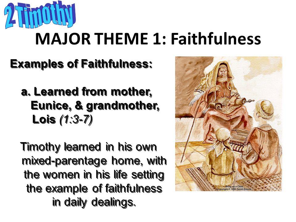 MAJOR THEME 1: Faithfulness Examples of Faithfulness: a.