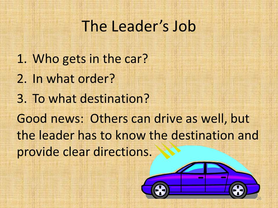 The Leader's Job 1.Who gets in the car. 2.In what order.