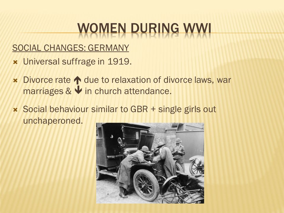 SOCIAL CHANGES: GERMANY  Universal suffrage in 1919.