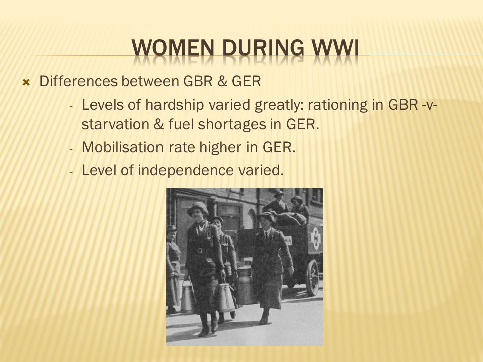  Differences between GBR & GER - Levels of hardship varied greatly: rationing in GBR -v- starvation & fuel shortages in GER.