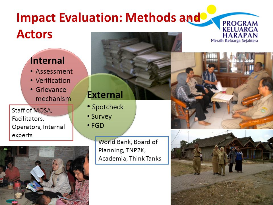 Impact Evaluation: Methods and Actors Internal Assessment Verification Grievance mechanism External Spotcheck Survey FGD World Bank, Board of Planning