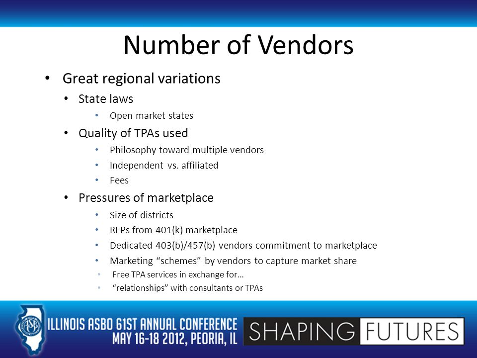 Number of Vendors Great regional variations State laws Open market states Quality of TPAs used Philosophy toward multiple vendors Independent vs.