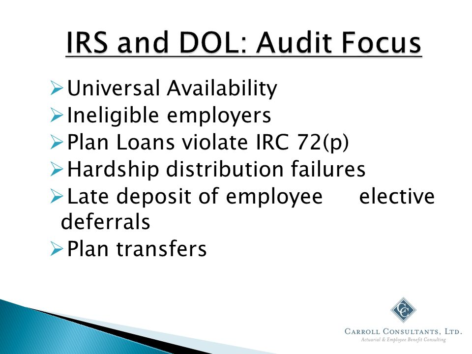  Universal Availability  Ineligible employers  Plan Loans violate IRC 72(p)  Hardship distribution failures  Late deposit of employee elective deferrals  Plan transfers