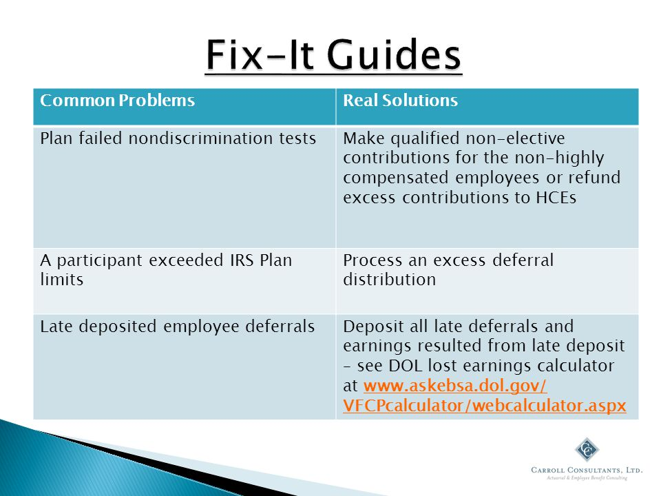 Common ProblemsReal Solutions Plan failed nondiscrimination testsMake qualified non-elective contributions for the non-highly compensated employees or refund excess contributions to HCEs A participant exceeded IRS Plan limits Process an excess deferral distribution Late deposited employee deferralsDeposit all late deferrals and earnings resulted from late deposit – see DOL lost earnings calculator at www.askebsa.dol.gov/ VFCPcalculator/webcalculator.aspx