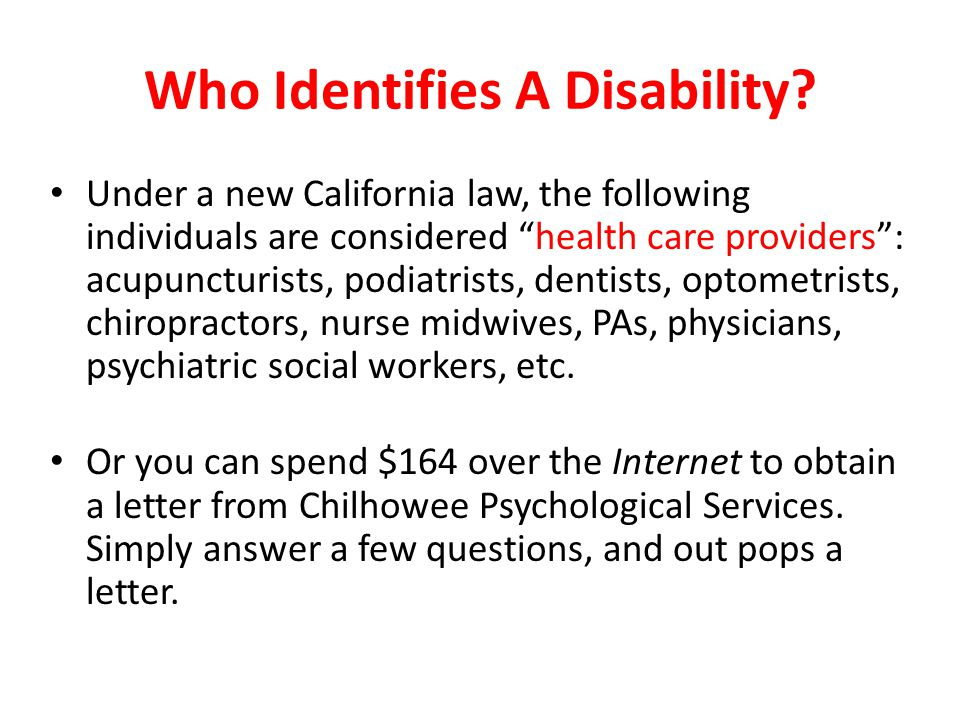 Who Identifies A Disability.