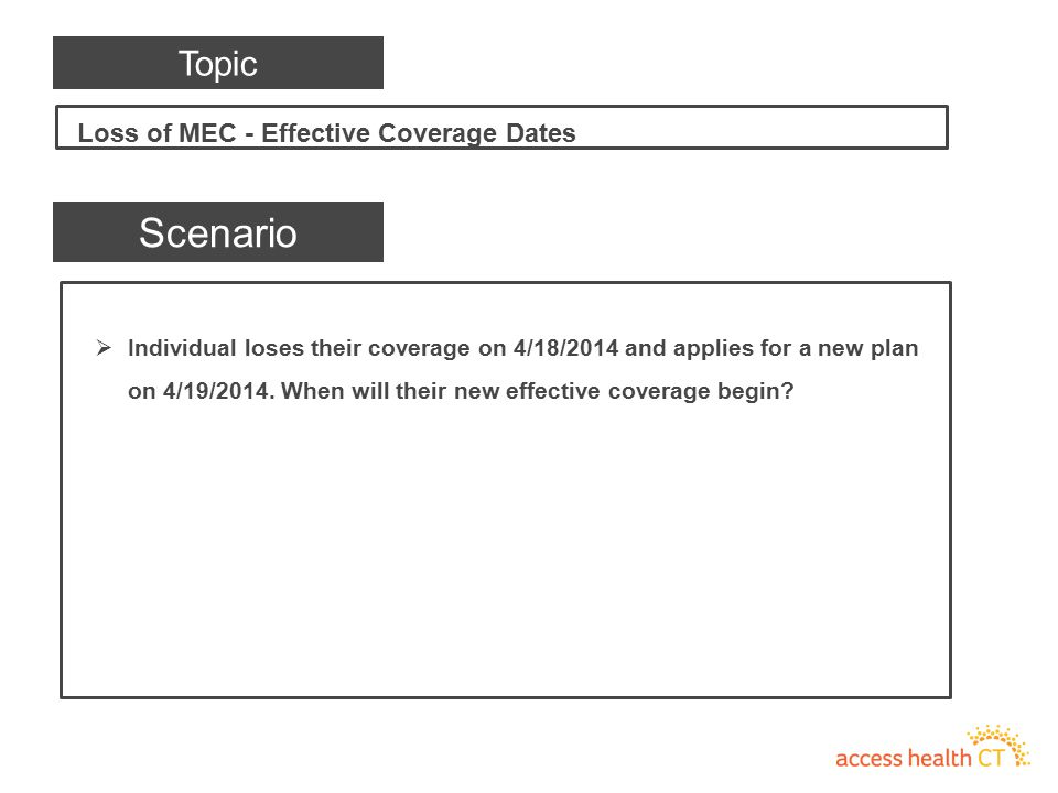  Individual loses their coverage on 4/18/2014 and applies for a new plan on 4/19/2014. When will their new effective coverage begin? Scenario Loss of