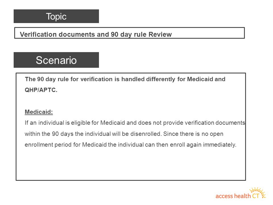 The 90 day rule for verification is handled differently for Medicaid and QHP/APTC. Medicaid: If an individual is eligible for Medicaid and does not pr