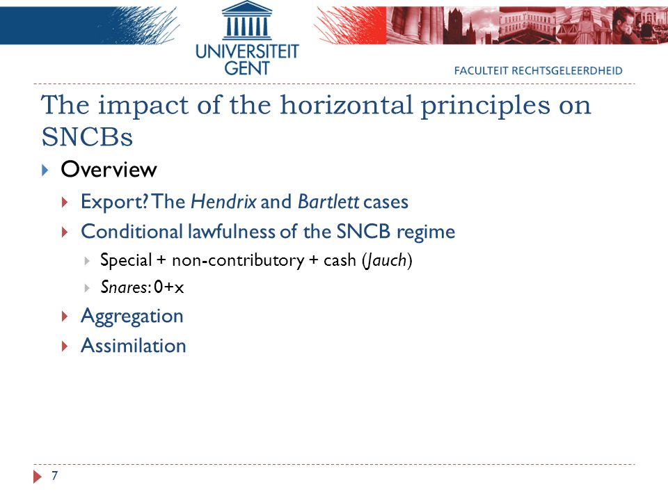 The impact of the horizontal principles on SNCBs  Overview  Export.