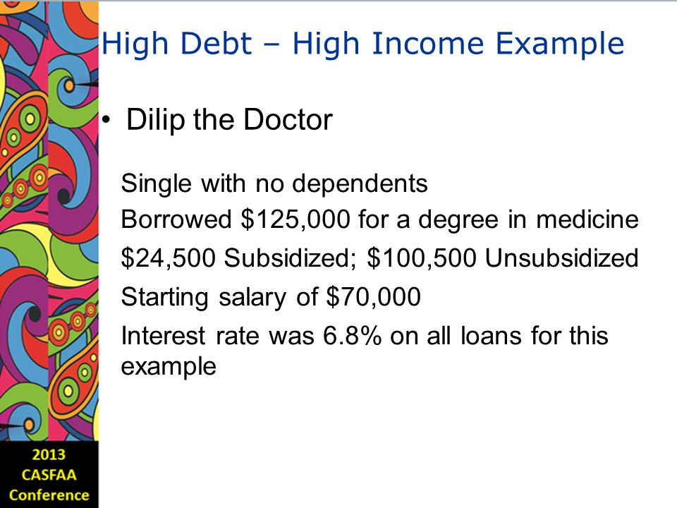 High Debt – High Income Example Dilip the Doctor Single with no dependents Borrowed $125,000 for a degree in medicine $24,500 Subsidized; $100,500 Unsubsidized Starting salary of $70,000 Interest rate was 6.8% on all loans for this example