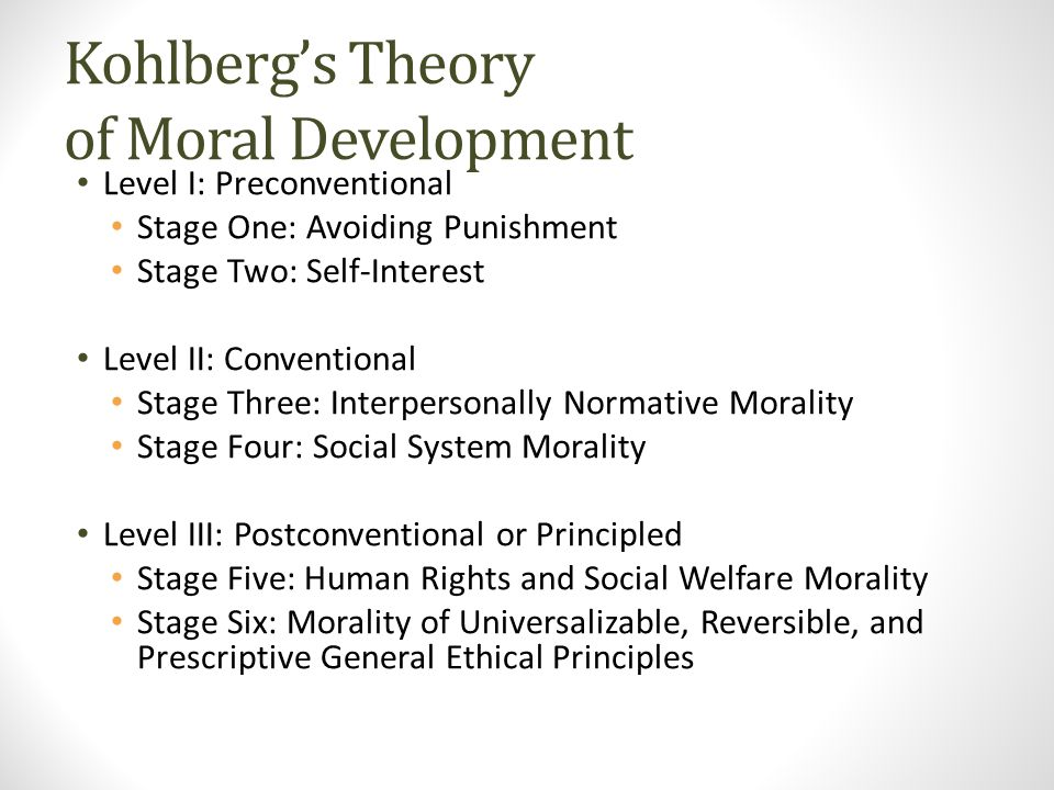Kohlberg's Theory of Moral Development Level I: Preconventional Stage One: Avoiding Punishment Stage Two: Self-Interest Level II: Conventional Stage Three: Interpersonally Normative Morality Stage Four: Social System Morality Level III: Postconventional or Principled Stage Five: Human Rights and Social Welfare Morality Stage Six: Morality of Universalizable, Reversible, and Prescriptive General Ethical Principles
