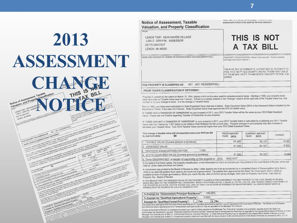 7 2013 ASSESSMENT CHANGE NOTICE