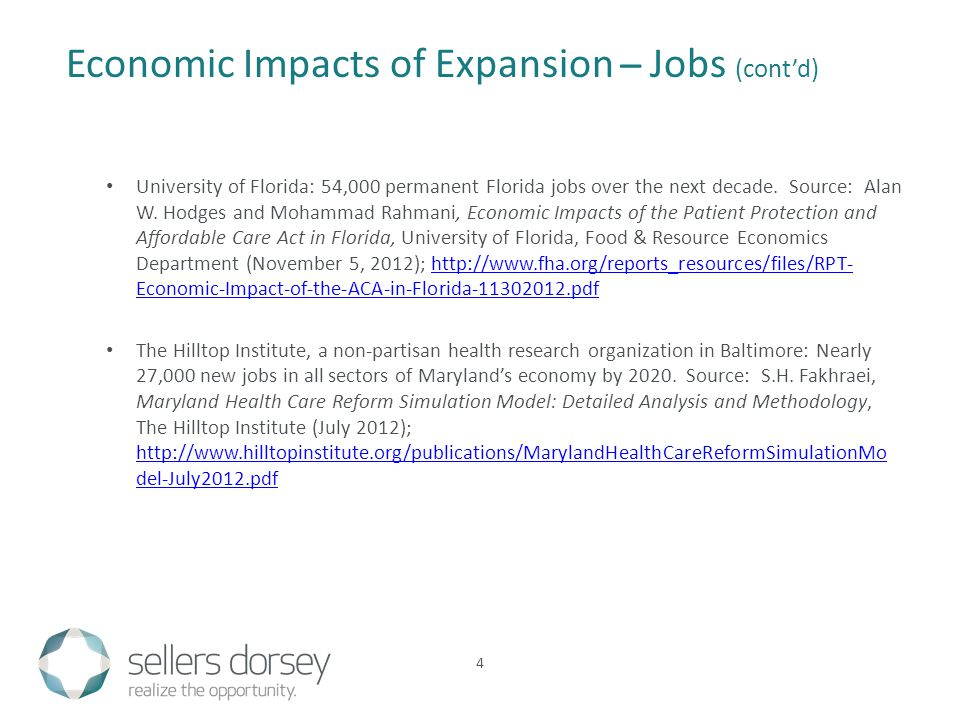 University of Florida: 54,000 permanent Florida jobs over the next decade.