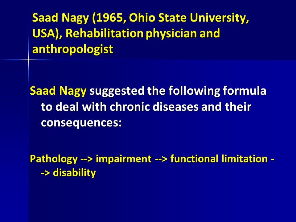 Saad Nagy (1965, Ohio State University, USA), Rehabilitation physician and anthropologist Saad Nagy suggested the following formula to deal with chron