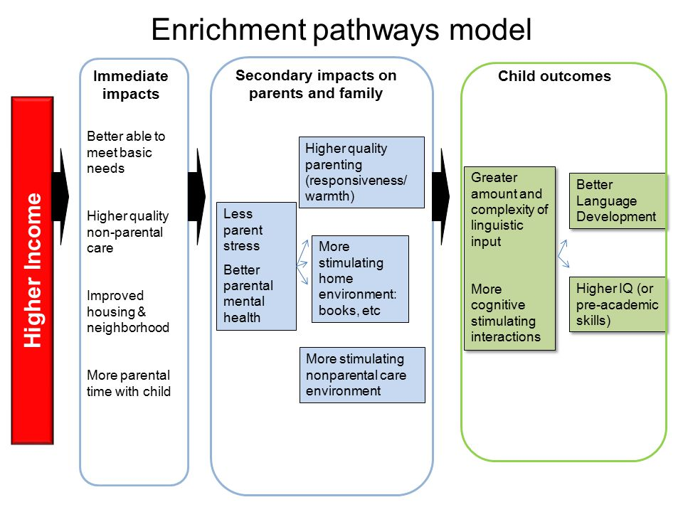 Enrichment pathways model Higher Income Immediate impacts Better able to meet basic needs Higher quality non-parental care Improved housing & neighborhood More parental time with child Secondary impacts on parents and family Less parent stress Better parental mental health Child outcomes Higher quality parenting (responsiveness/ warmth) More stimulating home environment: books, etc More stimulating nonparental care environment Greater amount and complexity of linguistic input More cognitive stimulating interactions Greater amount and complexity of linguistic input More cognitive stimulating interactions Better Language Development Higher IQ (or pre-academic skills)
