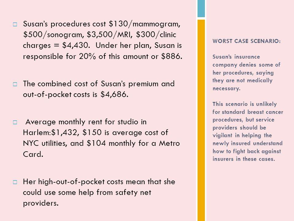  Susan's procedures cost $130/mammogram, $500/sonogram, $3,500/MRI, $300/clinic charges = $4,430.