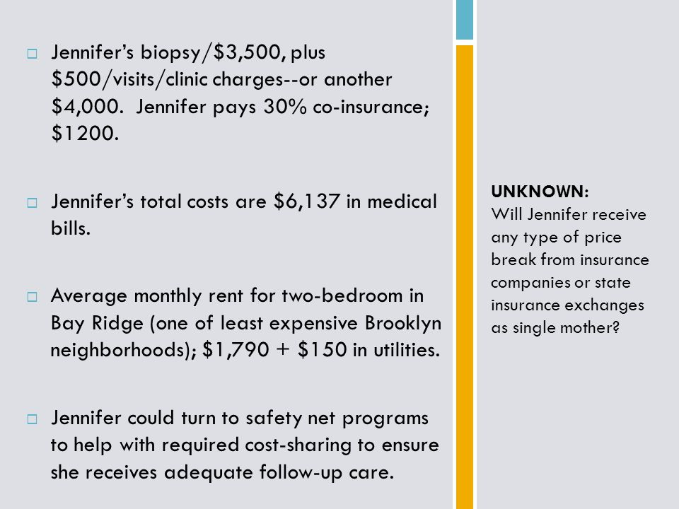 Jennifer's biopsy/$3,500, plus $500/visits/clinic charges--or another $4,000.