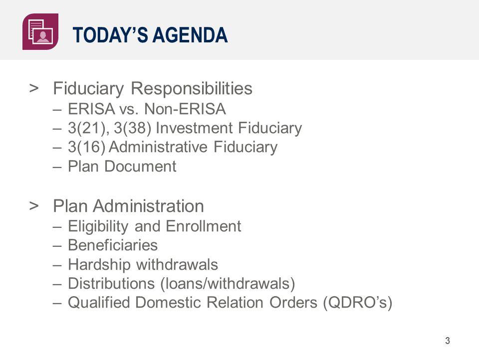 TODAY'S AGENDA >Fiduciary Responsibilities –ERISA vs. Non-ERISA –3(21), 3(38) Investment Fiduciary –3(16) Administrative Fiduciary –Plan Document >Pla