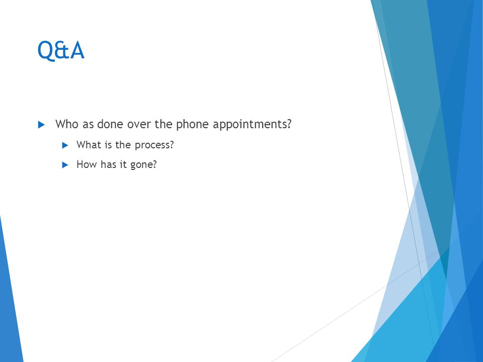 Q&A  Who as done over the phone appointments  What is the process  How has it gone