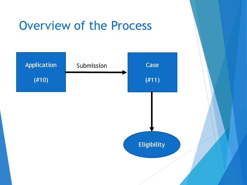 Overview of the Process Application (#10) Case (#11) Submission Eligibility