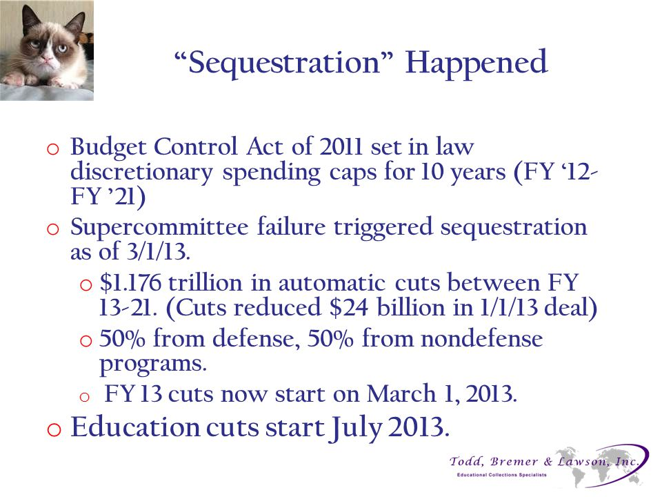 """Sequestration"" Happened o Budget Control Act of 2011 set in law discretionary spending caps for 10 years (FY '12- FY '21) o Supercommittee failure tr"