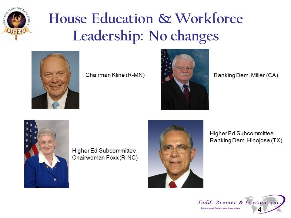 House Education & Workforce Leadership: No changes 4 Chairman Kline (R-MN) Higher Ed Subcommittee Chairwoman Foxx (R-NC) Ranking Dem. Miller (CA) High