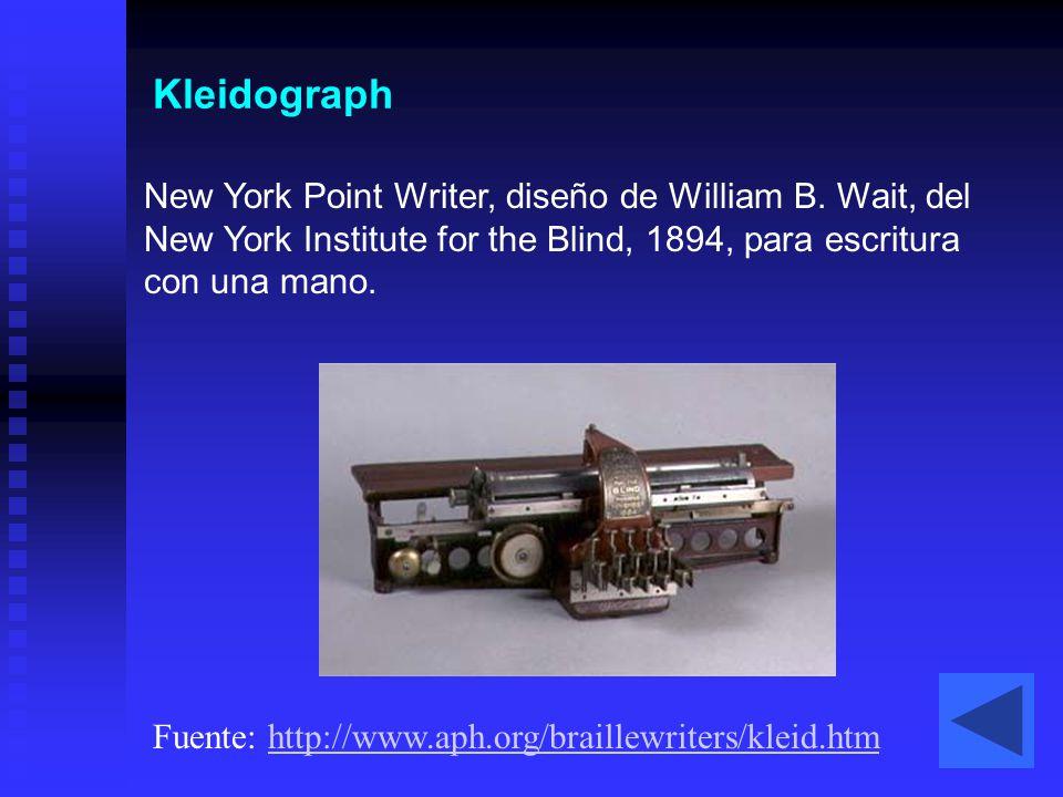 Kleidograph New York Point Writer, diseño de William B. Wait, del New York Institute for the Blind, 1894, para escritura con una mano. Fuente: http://
