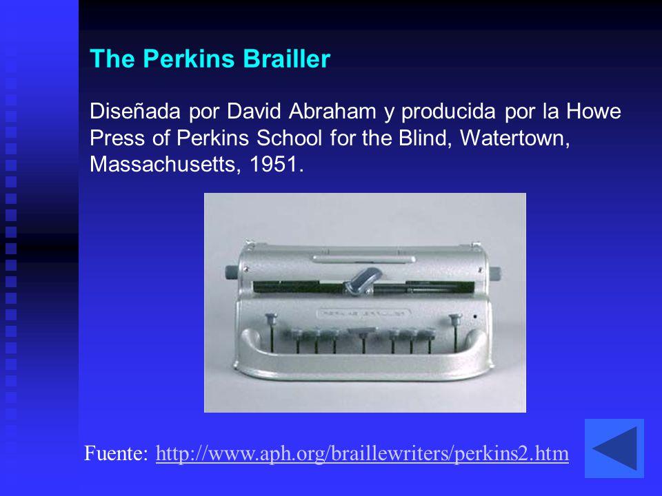 The Perkins Brailler Diseñada por David Abraham y producida por la Howe Press of Perkins School for the Blind, Watertown, Massachusetts, 1951. Fuente: