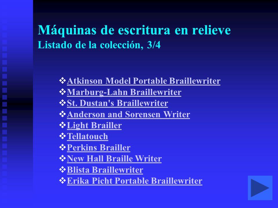 Máquinas de escritura en relieve Listado de la colección, 3/4  Atkinson Model Portable Braillewriter Atkinson Model Portable Braillewriter  Marburg-