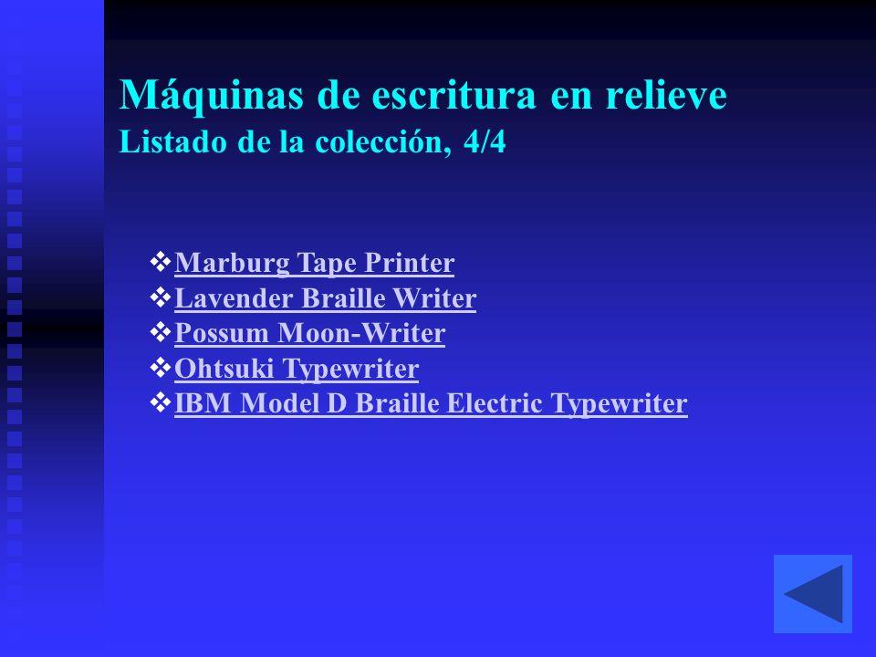 Máquinas de escritura en relieve Listado de la colección, 4/4  Marburg Tape Printer Marburg Tape Printer  Lavender Braille Writer Lavender Braille W