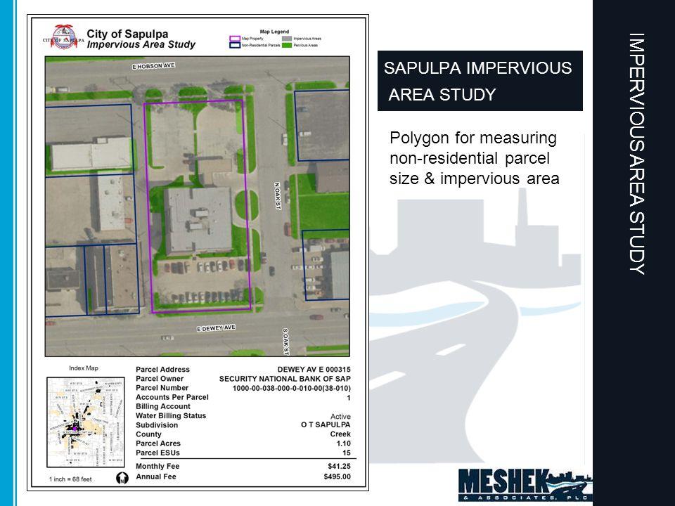 Polygon for measuring non-residential parcel size & impervious area SAPULPA IMPERVIOUS AREA STUDY
