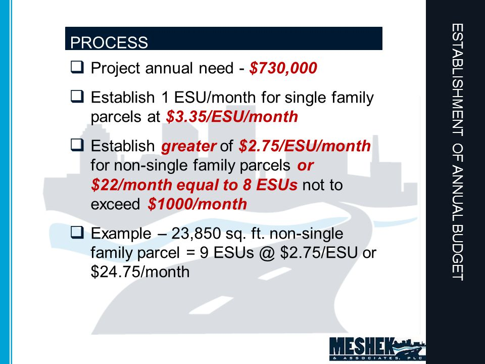  Project annual need - $730,000  Establish 1 ESU/month for single family parcels at $3.35/ESU/month  Establish greater of $2.75/ESU/month for non-single family parcels or $22/month equal to 8 ESUs not to exceed $1000/month  Example – 23,850 sq.