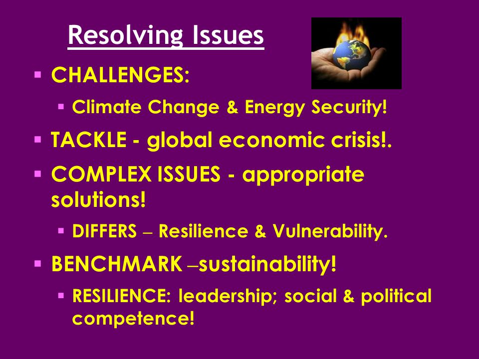 Resolving Issues  CHALLENGES:  Climate Change & Energy Security.