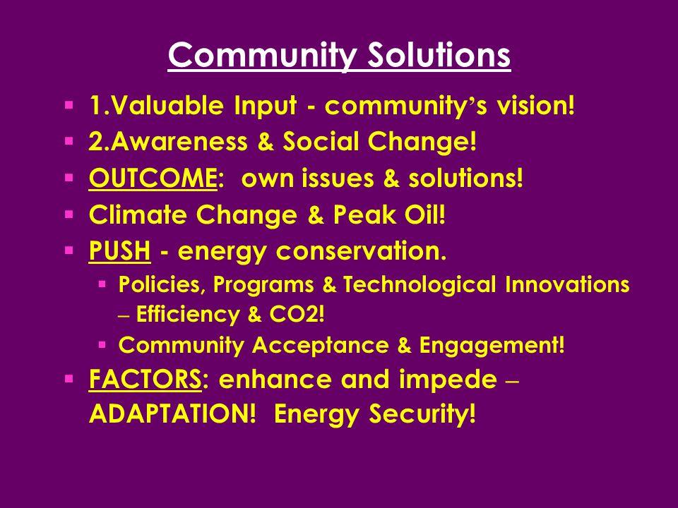 Community Solutions  1.Valuable Input - community ' s vision.