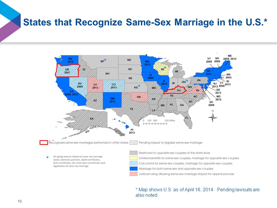 States that Recognize Same-Sex Marriage in the U.S.* 10 * Map shows U.S.