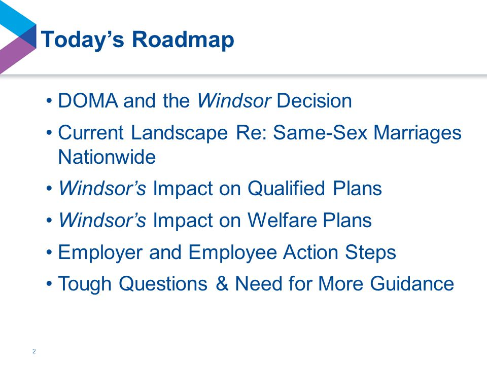 2 Today's Roadmap DOMA and the Windsor Decision Current Landscape Re: Same-Sex Marriages Nationwide Windsor's Impact on Qualified Plans Windsor's Impact on Welfare Plans Employer and Employee Action Steps Tough Questions & Need for More Guidance