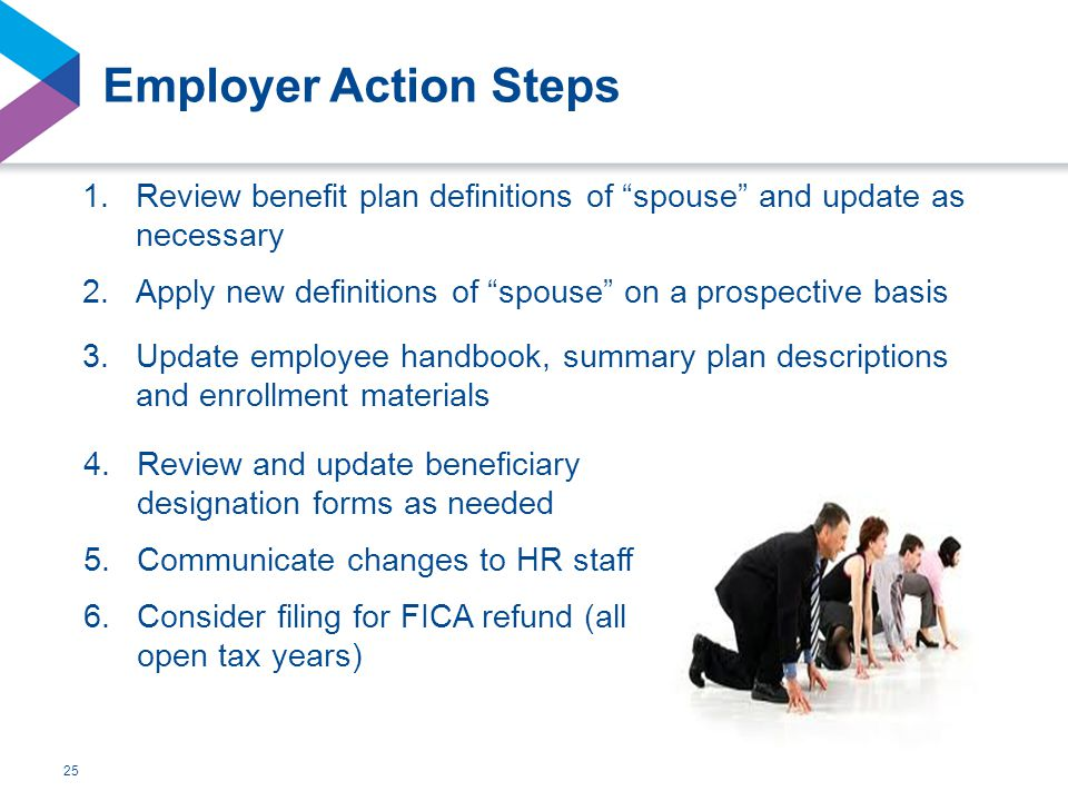 Employer Action Steps 1.Review benefit plan definitions of spouse and update as necessary 2.Apply new definitions of spouse on a prospective basis 3.Update employee handbook, summary plan descriptions and enrollment materials 25 4.Review and update beneficiary designation forms as needed 5.Communicate changes to HR staff 6.Consider filing for FICA refund (all open tax years)