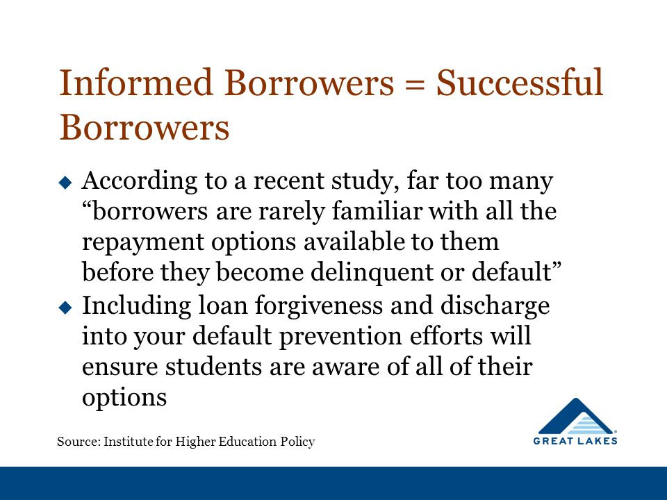 "Informed Borrowers = Successful Borrowers  According to a recent study, far too many ""borrowers are rarely familiar with all the repayment options av"
